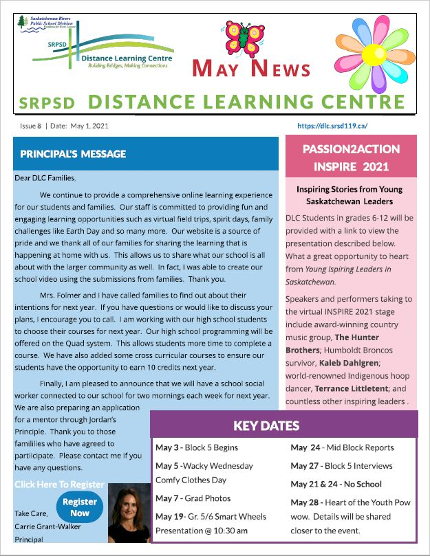 May Newsletter Principal's Message Key Dates Passion2Action Inspire 2021
