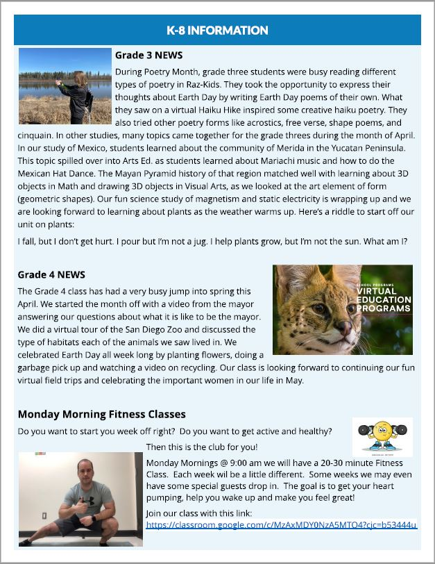 May Newsletter K-8 Informaiton Monday Morning Fitness Classes