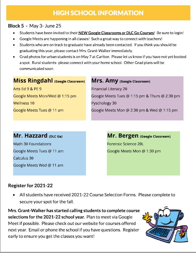 May Newsletter High School Information Block 5 Course Selection