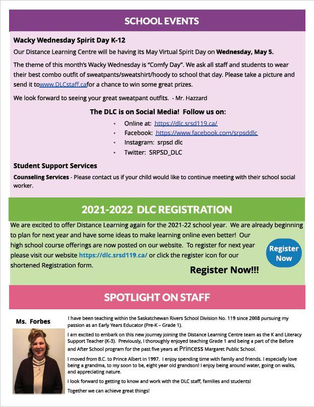 May Newsletter School Events Wacky Wednesday