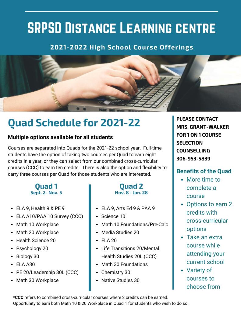 Quad Schedule for 2021-22